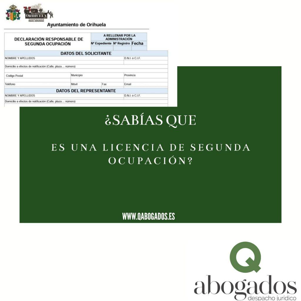 licencia segunda ocupación